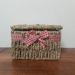 Other - Recipe Box | Rustic Country Red Bow Wicker Basket
